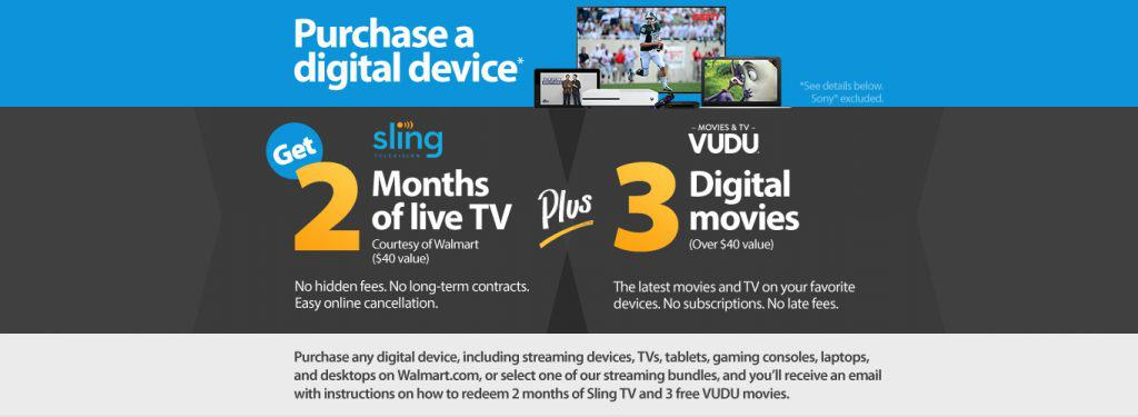 2 Months Sling TV & 3 Movies from Vudu