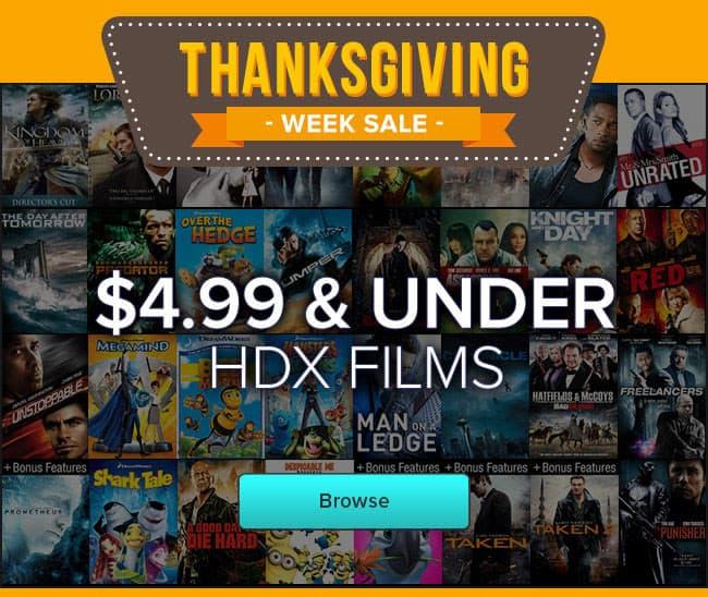 VUDU Thanksgiving Week Black Friday Sale HD Digital Movies Starting at $4.99